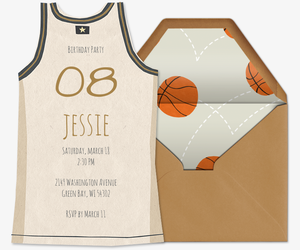 Basketball Jersey White Invitation