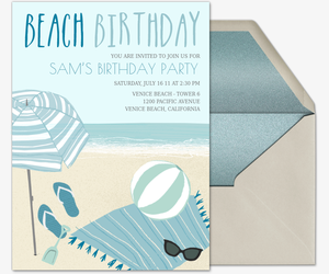 Beach Birthday on Sand Invitation