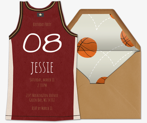 Basketball Jersey Red Invitation