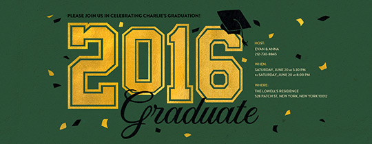 2016 Graduate Green Invitation