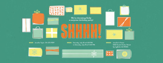 surprise, shhhh, birthday, party, gifts, wrapping paper, stars, surprise party, surprise birthday,
