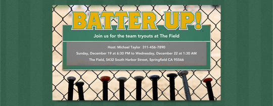 Batter Up Invitation