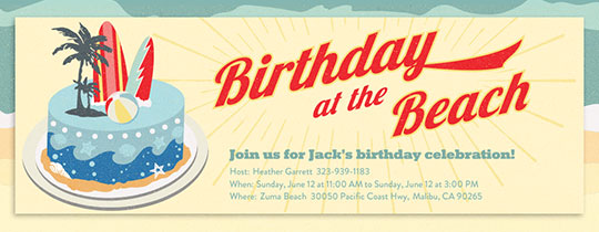 Beach Birthday Cake Invitation
