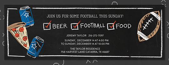 Beer Football Food Invitation