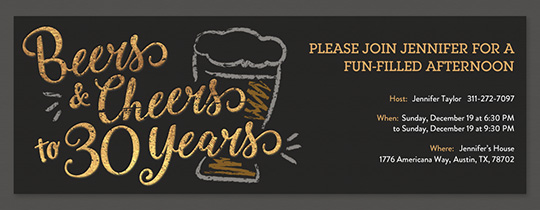 Beers and Cheers 30 Invitation