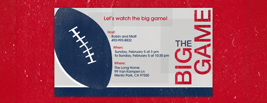 Big Game Graphic Invitation