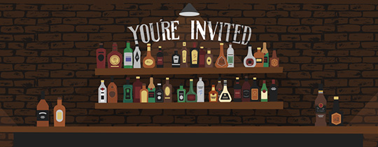 Birthday Liquor Shelf Invitation