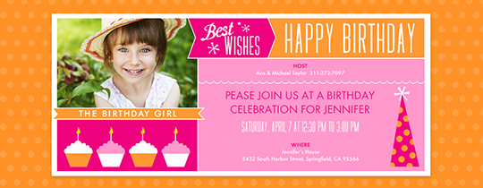 Birthday Wishes Pink Invitation