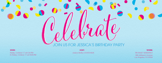 celebration, dots, pink, blue, confetti, circles, yellow, girls birthday,
