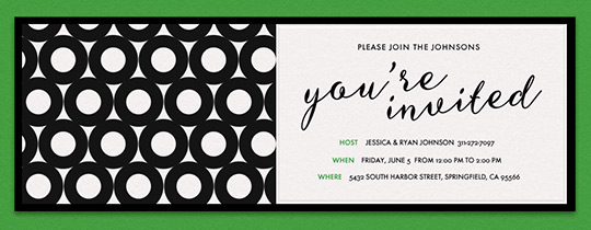 Circles Black Kelly Invitation
