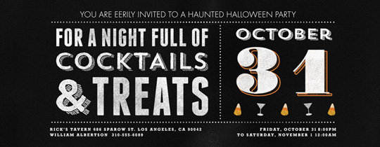 cocktails, treats, halloween, happy hour