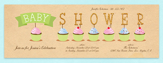 Cupcake Shower Invitation
