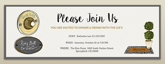 house, housewarming, open house, door bell, join us, dinner party
