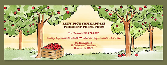 Fall Apple Picking Invitation