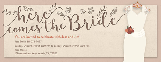 Fall Bridal Gown Invitation