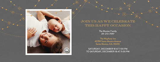 Festive Gold Stars Gray Invitation