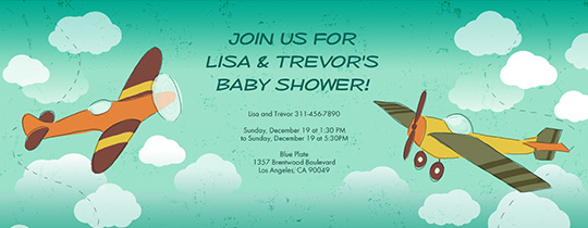 baby, baby shower, planes, plane, fly, flying, clouds,