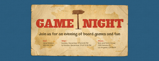 Game Night Map Invitation