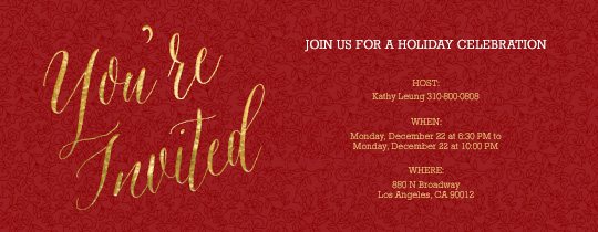 Golden Holidays Invitation