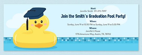 Grad Ducky Pool Party Invitation