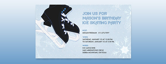 Hit the Ice Blue Invitation
