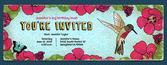 bird, flowers, hummingbird, you're invited, birds, flower, garden, hummingbirds, butterfly, butterflies, pink, girls, girls birthday,