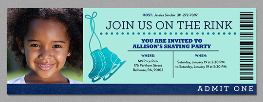 Ice Skating Ticket Invitation