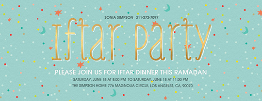 Iftar Party Confetti Invitation