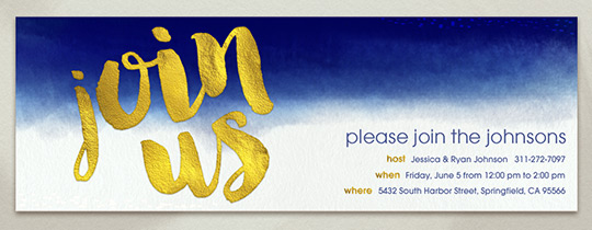 Indigo Dip Dye Invitation