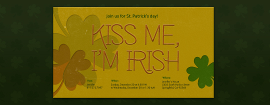 Kiss Me, I'm Irish Invitation