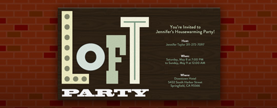 Loft Party Invitation