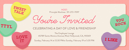 Message Hearts Invitation