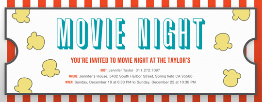Movie Night free online invitations – Movie Themed Invitation Template