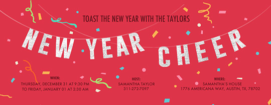 New Year Cheer Banner Invitation
