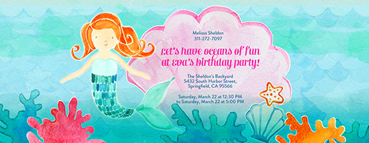 Ocean, Mermaid, Coral, Starfish, Clams, Water, Waves, girls birthday,