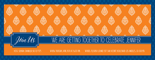 Orange Paisley Invitation
