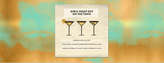 cocktail, copper, girl's night, girls, girls night, girls' night, martini, metallic, night on the town, night out