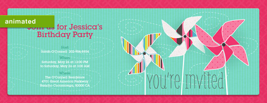 animated, outside, park, pink, pinwheel, spring, stripes, summer, wind, you're invited, girls birthday,