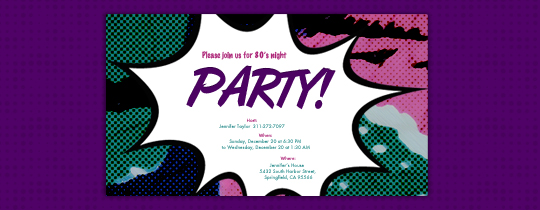 Purple Comic Invitation