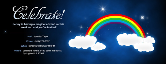celebrate, clouds, rainbow, sky, stars