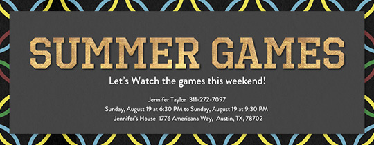 Watch the Games Invitation