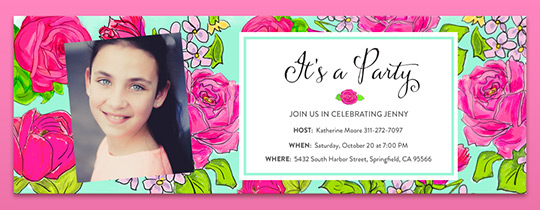 Rose Party Invitation