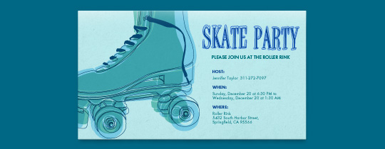 Skate Party Green Invitation