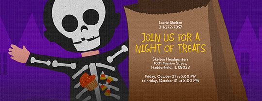 Skeleton Treats Invitation