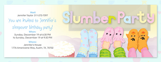 Slumber Party Slippers Invitation