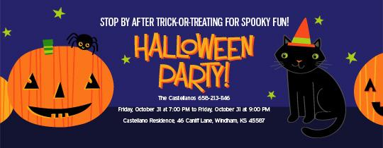 pumpkin, trick or treat, halloween, black cat, stars, spider