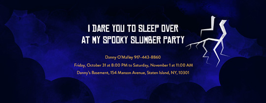 spooky, scary, sleep over, slumber party, clouds, lightening, halloween, animated,