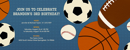 sports birthday, sports, football, baseball, basketball, soccer, kids birthday,