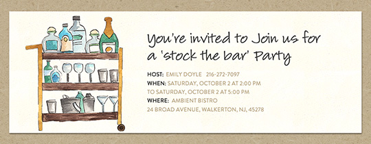 Stock the Bar Cart Invitation