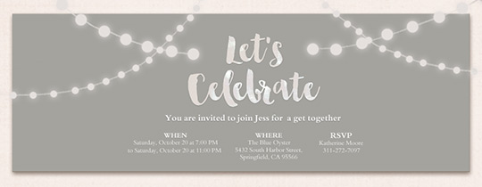 String Lights Grey Invitation